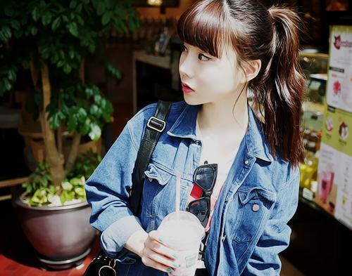 Long Brown Wavy With Bangs In A Ponytail Cute Asian Hair Hair