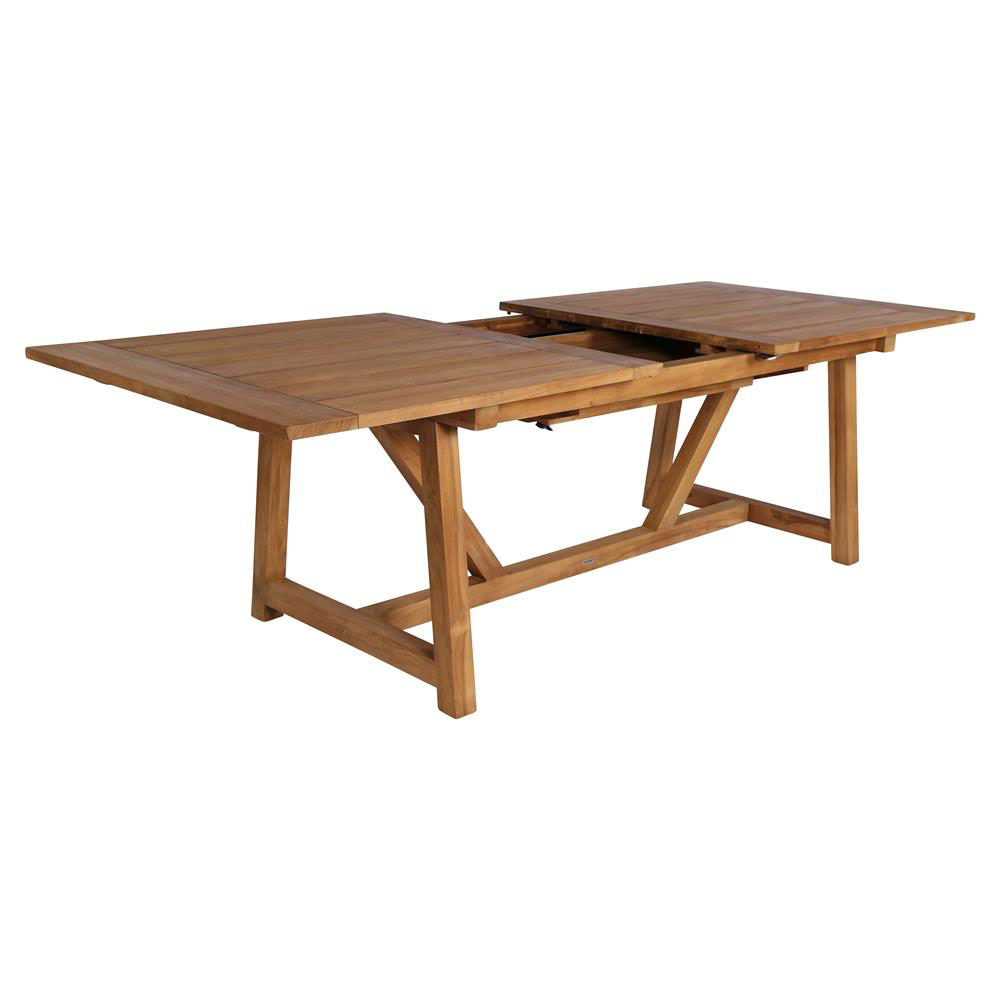 Greg Rustic Lodge Reclaimed Teak Outdoor Dining Table Extendable