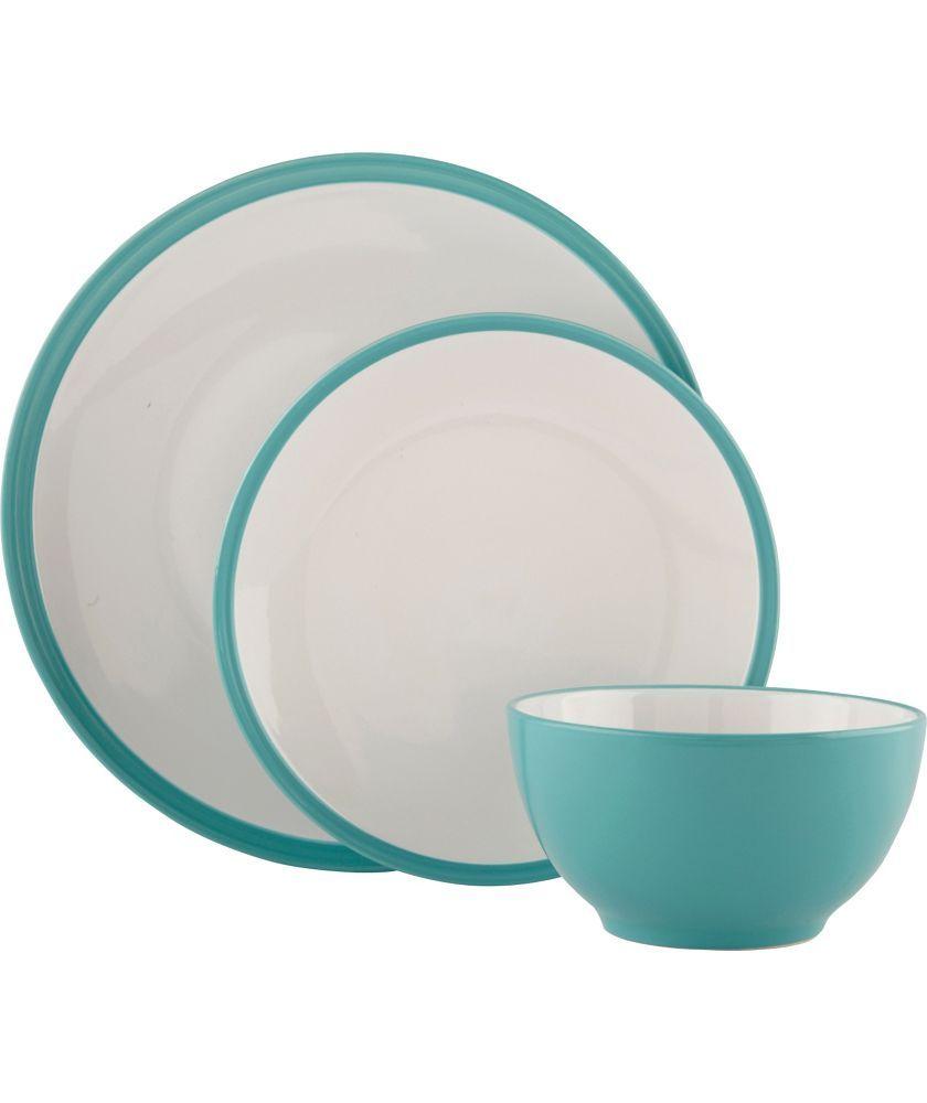 Buy ColourMatch 12 Piece Stoneware Dinner Set - Aqua at Argos.co.uk ...
