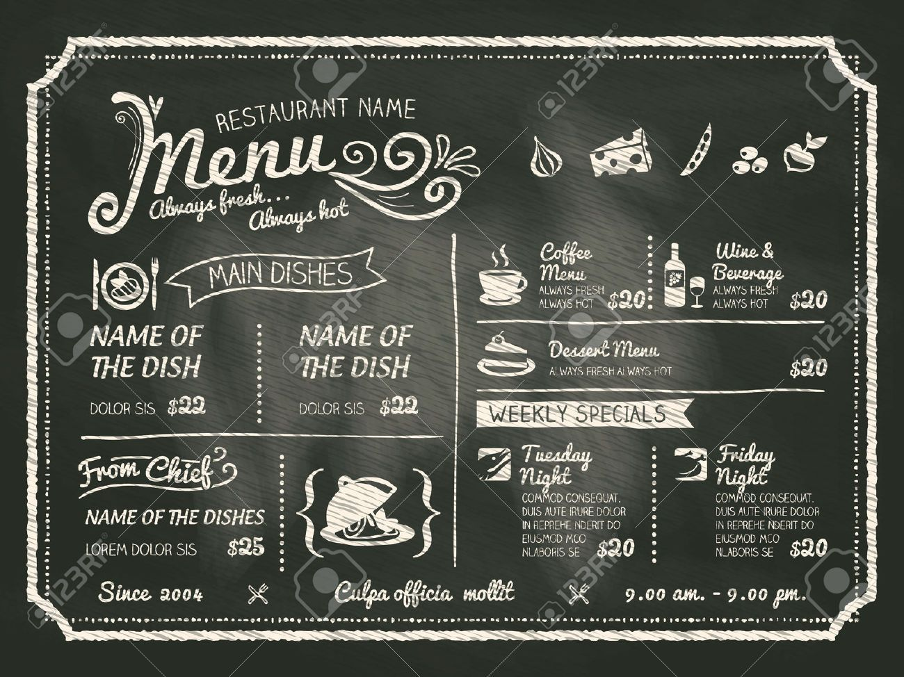 Vector Chalkboard Menu Template  Menu Templates Chalkboards And Menu