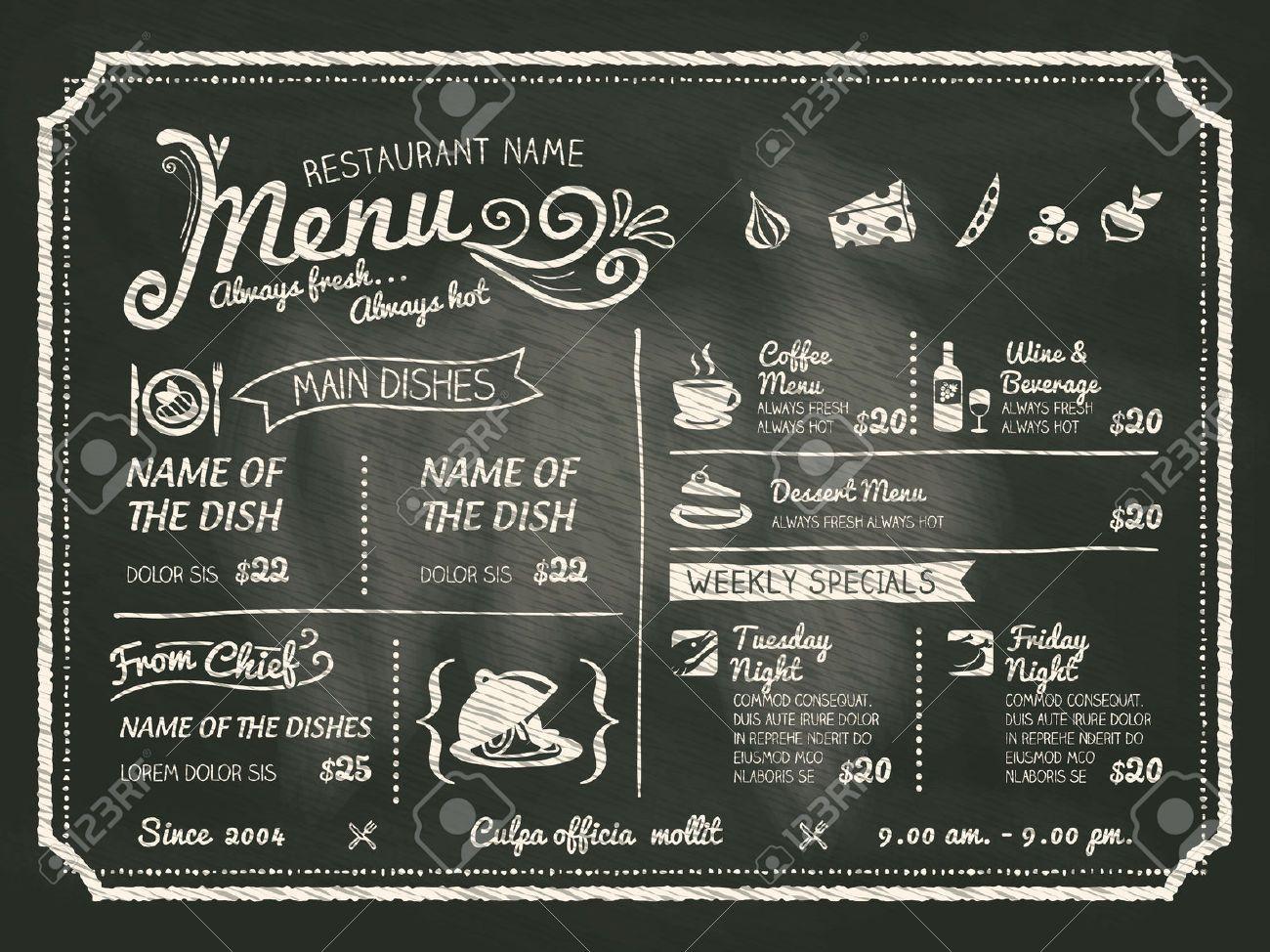 29385396 Restaurant Food Menu Design With Chalkboard Background Stock Vector Jpg 1300 974 Menu Restaurant Food Menu Design Menu Board Restaurant