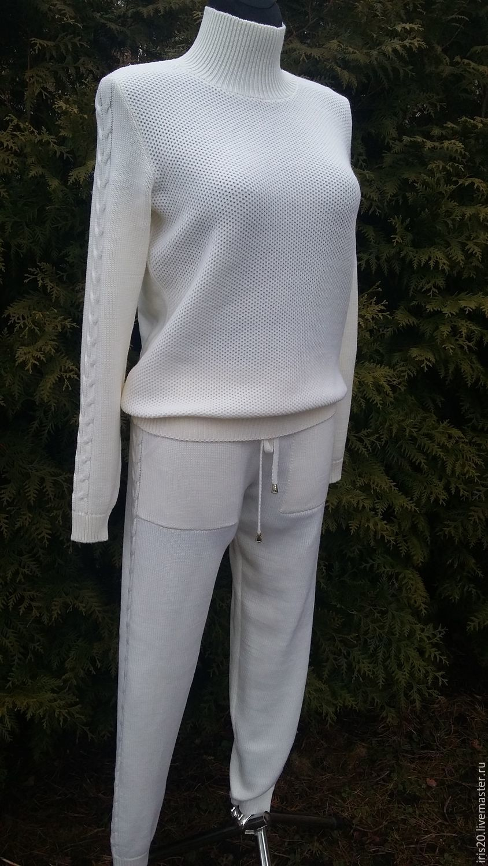Купить вязаный спортивный костюм - белый, костюм женский, Костюм вязаный,  костюм спортивный fbfea918cd3