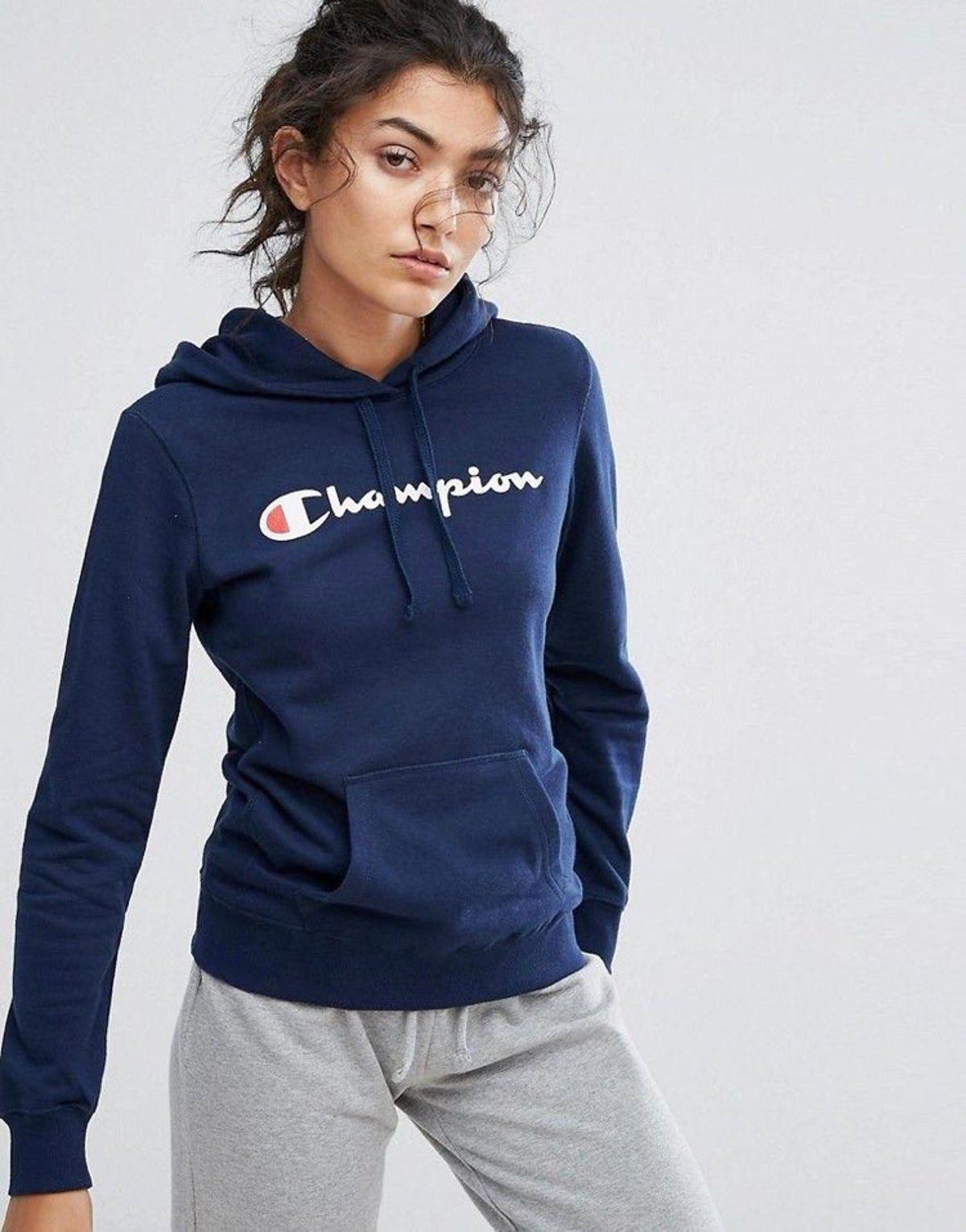 Navy Champion Sweatshirt Champion Hoodie Women Champion Clothing Blue Sweatshirt Outfit [ 1531 x 1200 Pixel ]
