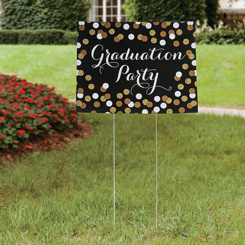 Black & Gold Graduation Yard Sign Regalos Graduacion Fiestas De Graduaci