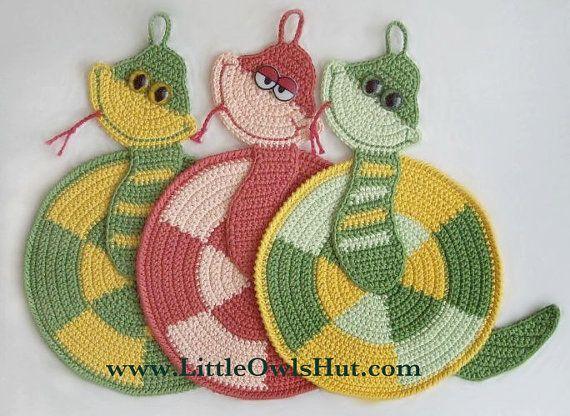 015 Snake Potholder - Amigurumi Crochet Pattern PDF file by Zabelina ...