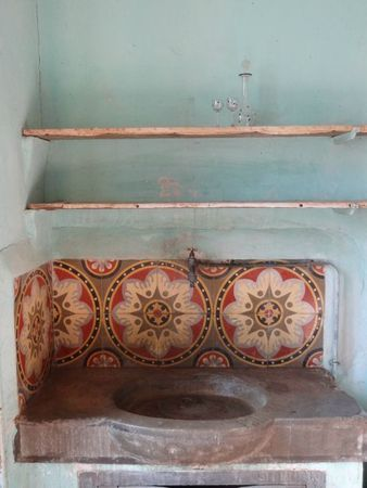 Half Bath Antique Sink Or Linseed Papercrete Or Waxed Concrete Antique Tiles Around Sink Tiles Pretty Tiles Statement Tiles