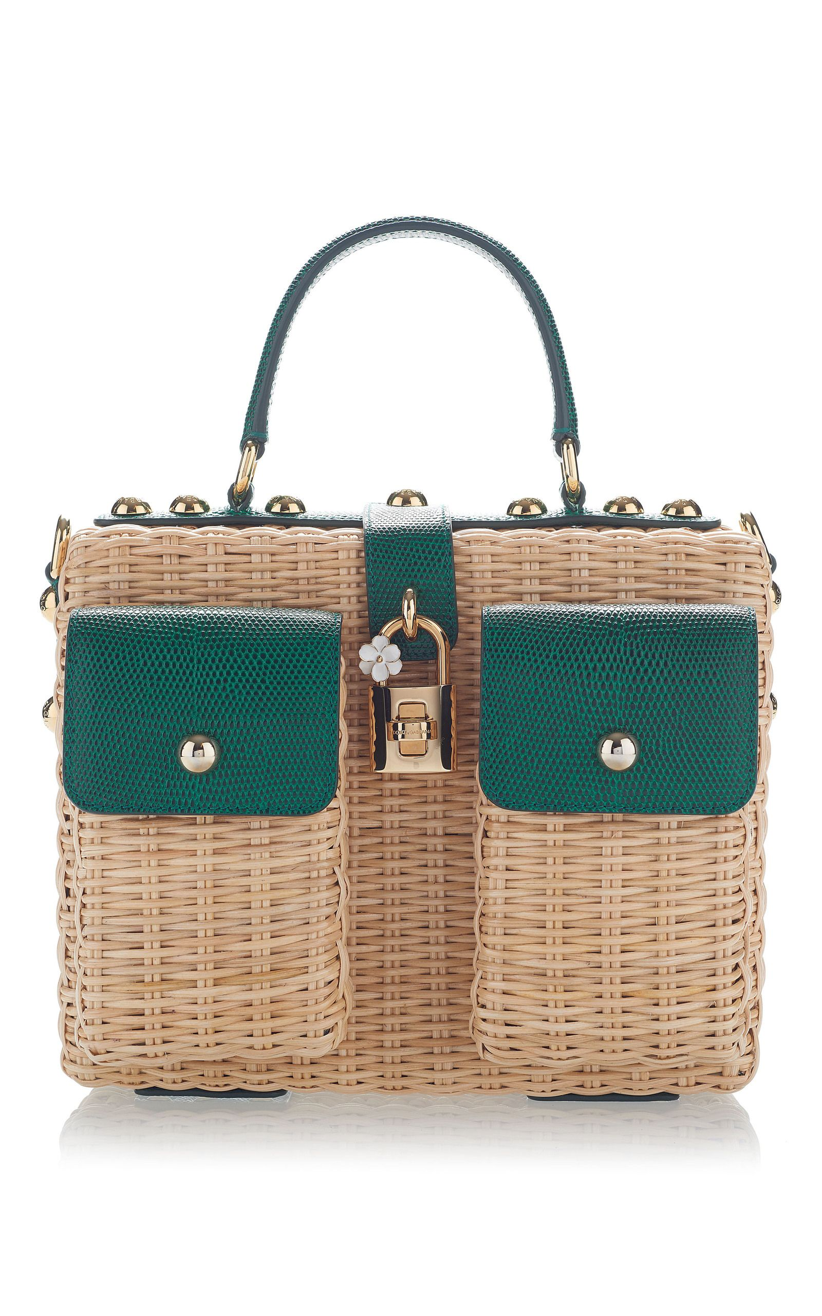 DOLCE   GABBANA Embellished Leather-Trimmed Rattan Tote.  dolcegabbana  bags   shoulder bags  hand bags  leather  tote   b750ef39285b6