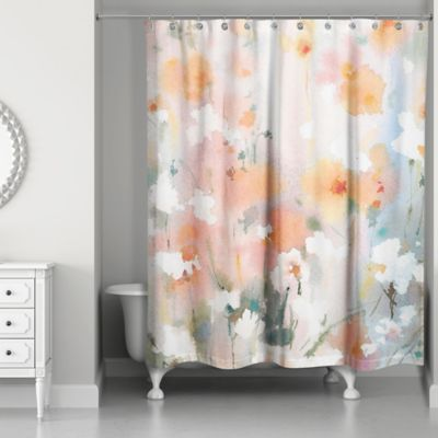 Designs Direct Soft Watercolor Florals Shower Curtain In Orange