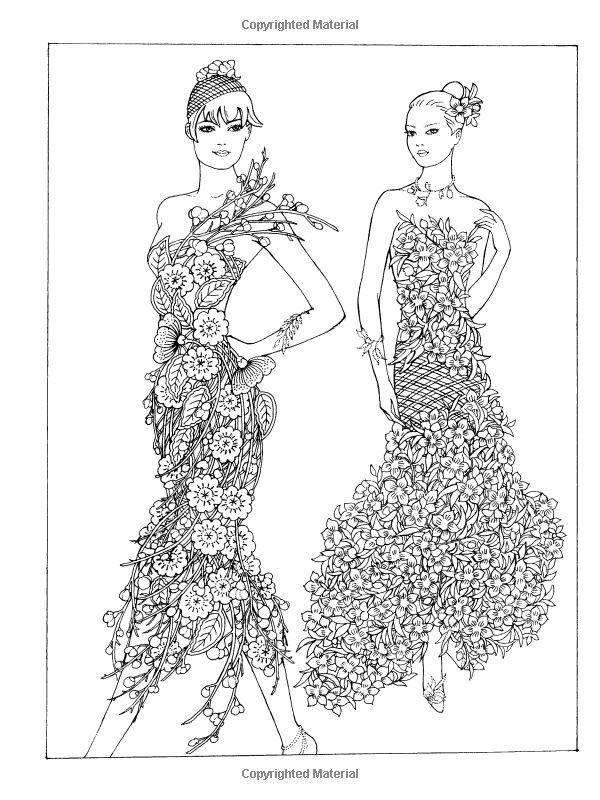 creative haven flower fashion fantasies coloring book coloring - Fashion Coloring Book