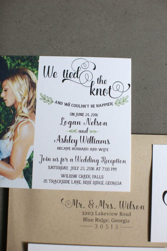 Wedding Reception Invitation We Tied The Knot By AdorePaperCo