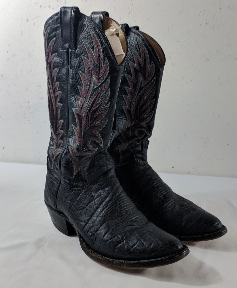 5ebcae74436 Justin Men's Cowboy Boots Size 7.5 D Style 8549 Black Red ...