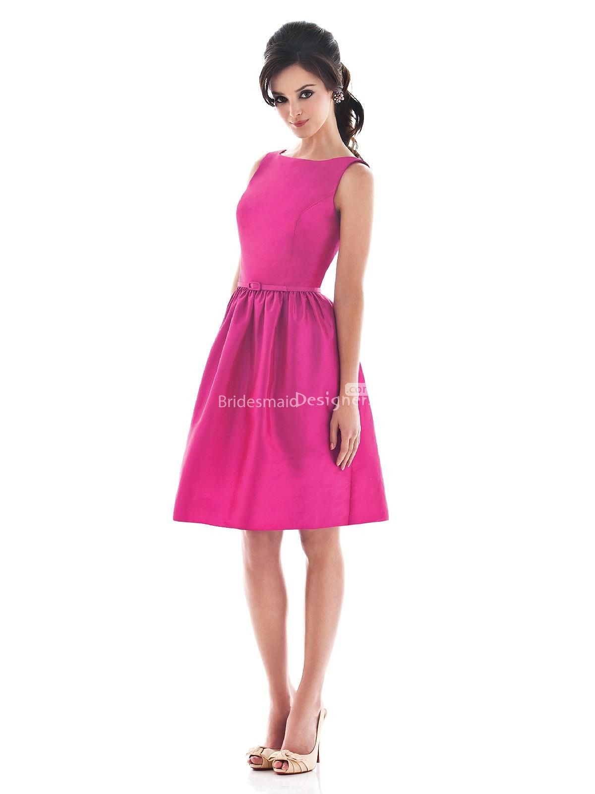 glamorous fuschia boat neck knee length a-line sleeveless satin ...