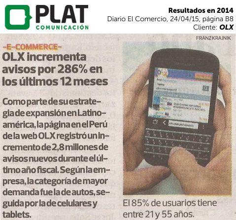 OLX: Resultados obtenidos en Perú en 2014 en el diario El Comercio de Perú (24/04/15)