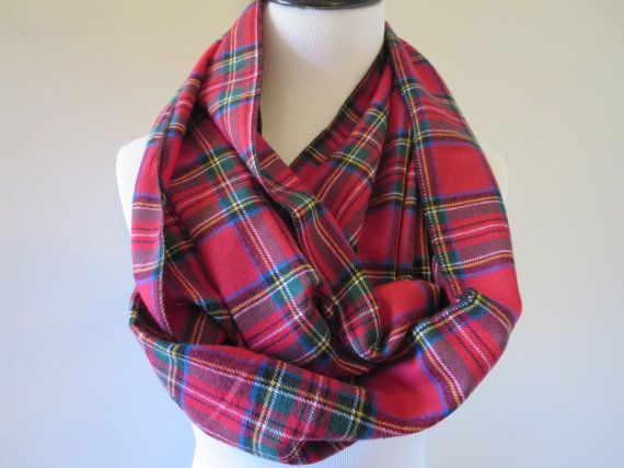 37a7116cf Red Scarf - Valentines Day Gift -Plaid Infinity Scarf -Infinity ...