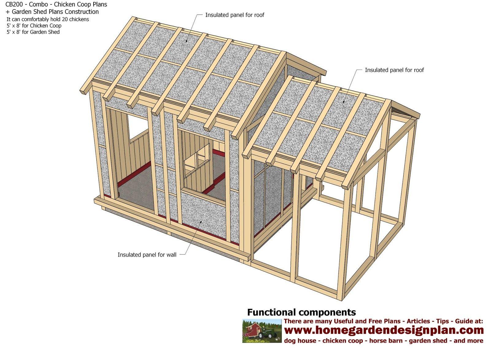 Home Garden Plans Cb200 Combo En Coop Construction Sheds