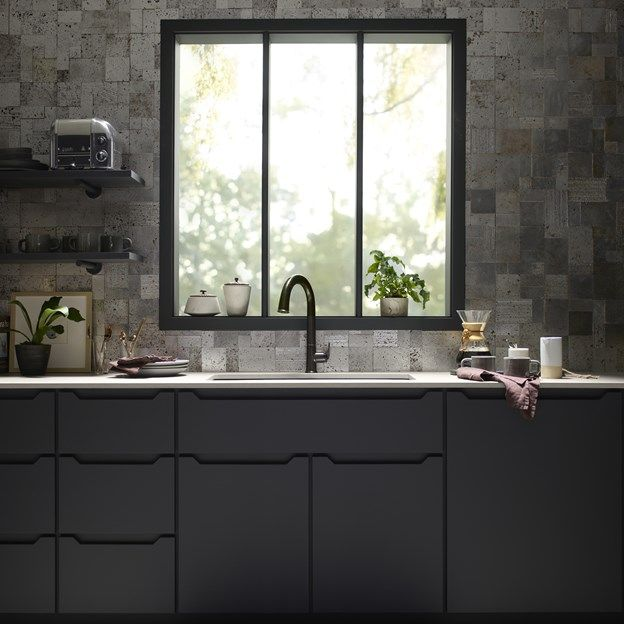 Marvelous Backsplash Is Lux Travertine Collection Random Mosaic In Silver. Touchless  Faucet Is U003ca Href Photo Gallery