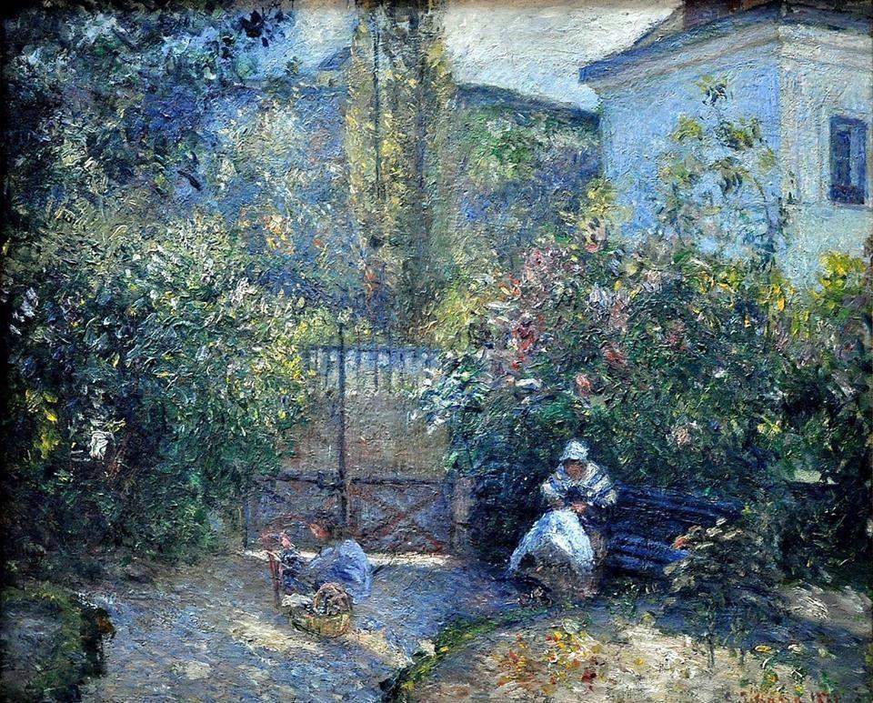 "Hermitage garden, Maison Rouge (Jardin de L'Hermitage, la Maison Rouge)"" (1877) By Camille Pissarro (French, 1830-1903) oil on canvas; 54.6 x 65.4 cm; 21.5 x 25.7 in. Place of creation: Pontoise, France"