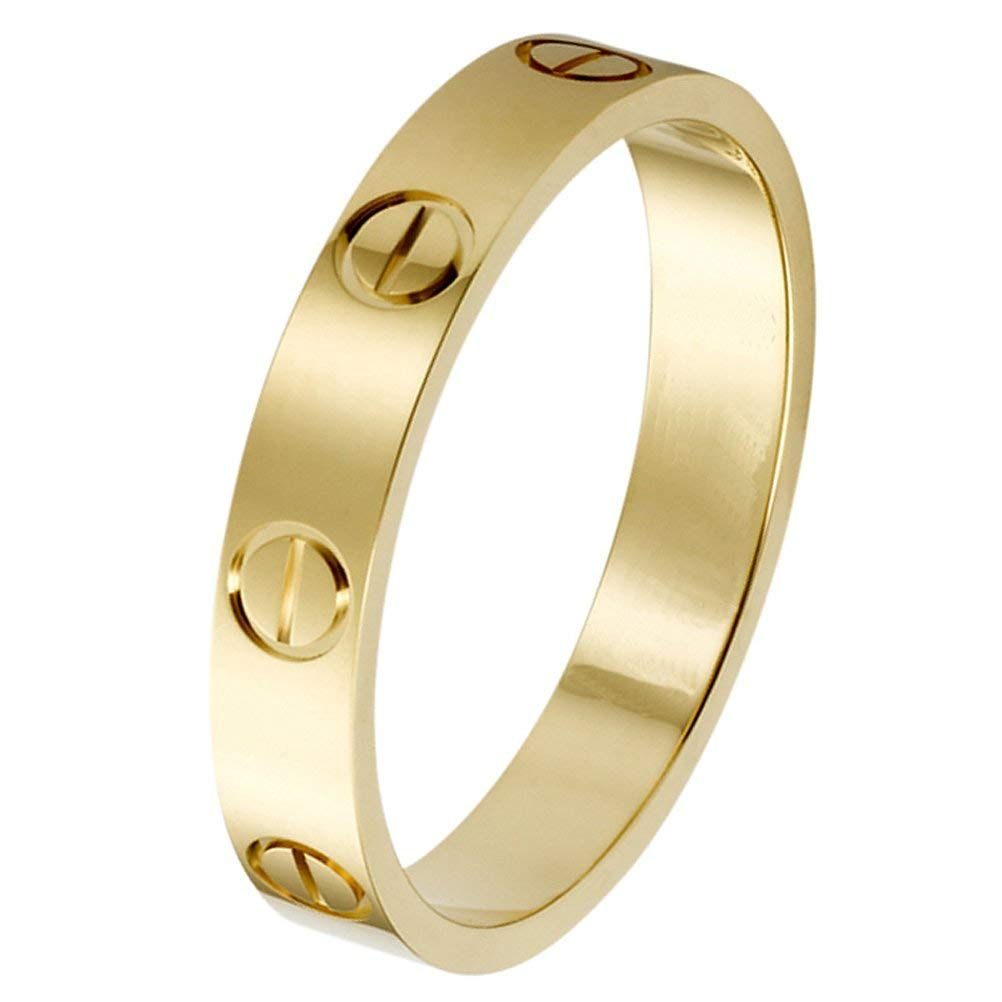 K.Klemm Fashion Rings 18K Titanium Steel Rings Classics Design Couple Promise Wedding Band Best Gifts for Love with Valentines Day Promise Engagement Wedding Bands for Men Women and Girls