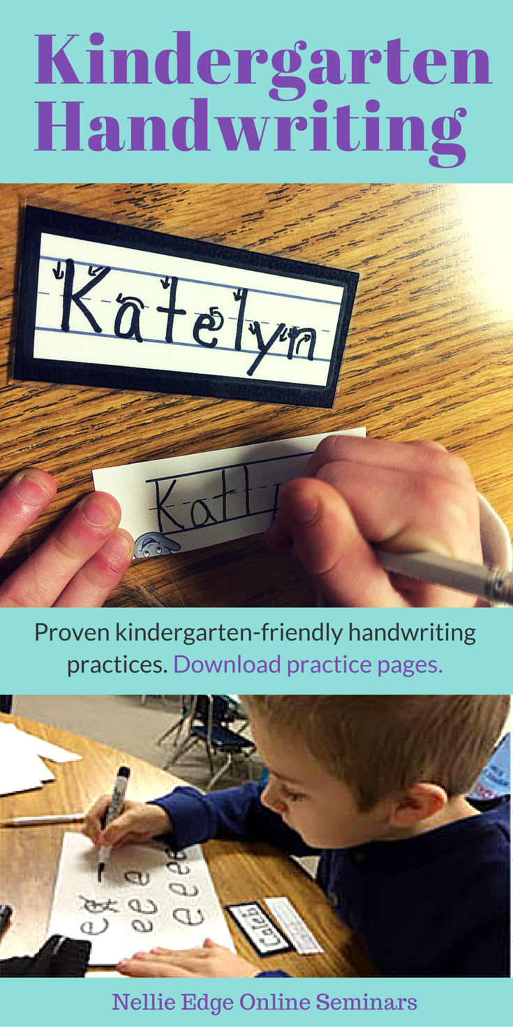"This website page from Nellie Edge ""Excellence in Kindergarten Literacy"" is FILLED with proven kindergarten-friendly handwriting practices STARTING WITH THE ""NAME TICKET."" See how master teachers weave handwriting practice into authentic literacy events that have meaning to the child."
