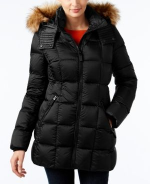 Marc New York Faux-Fur-Trim Hooded Quilted Down Coat - Black XS