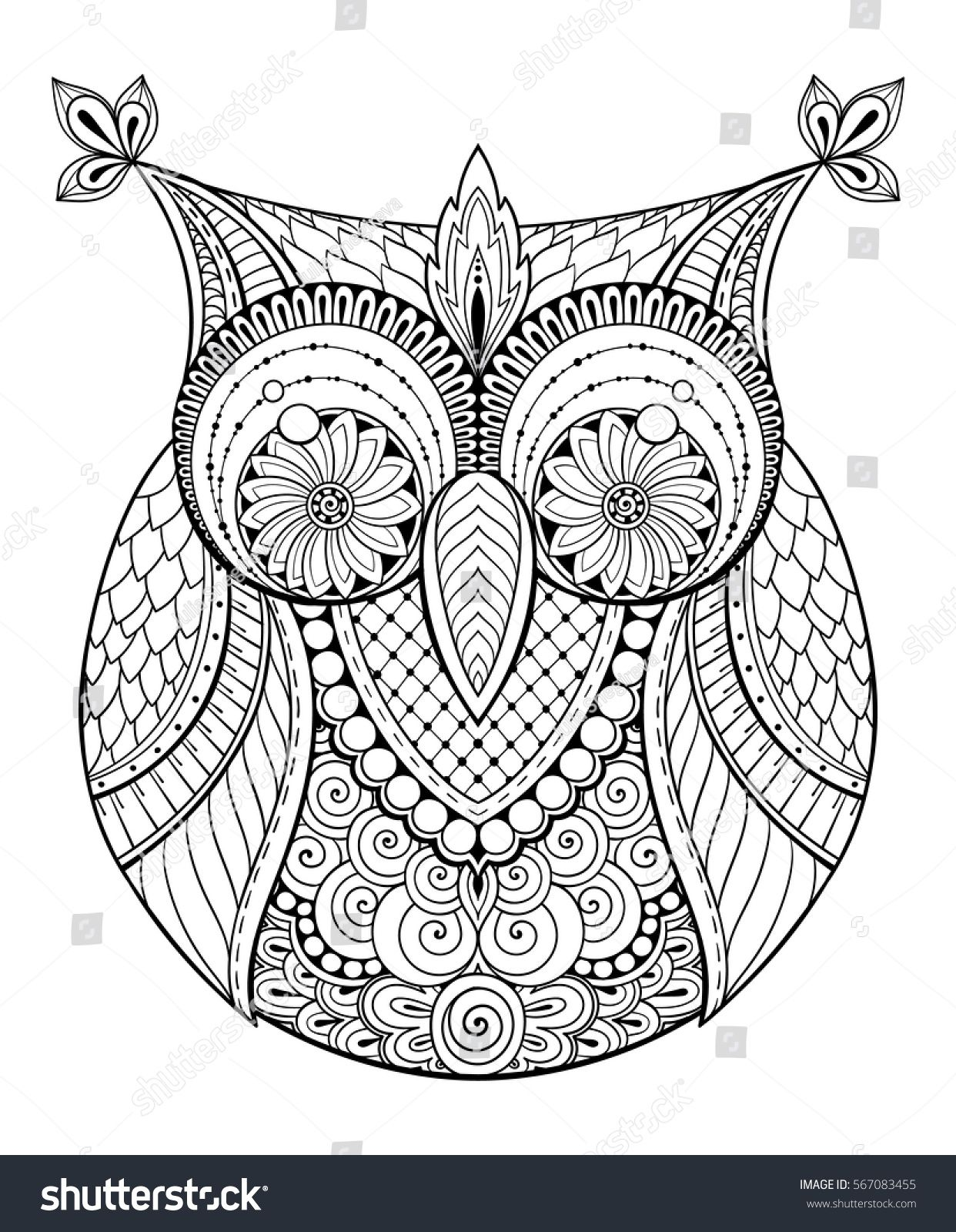 Birds theme. Owl black and white mandala with abstract ethnic aztec ...