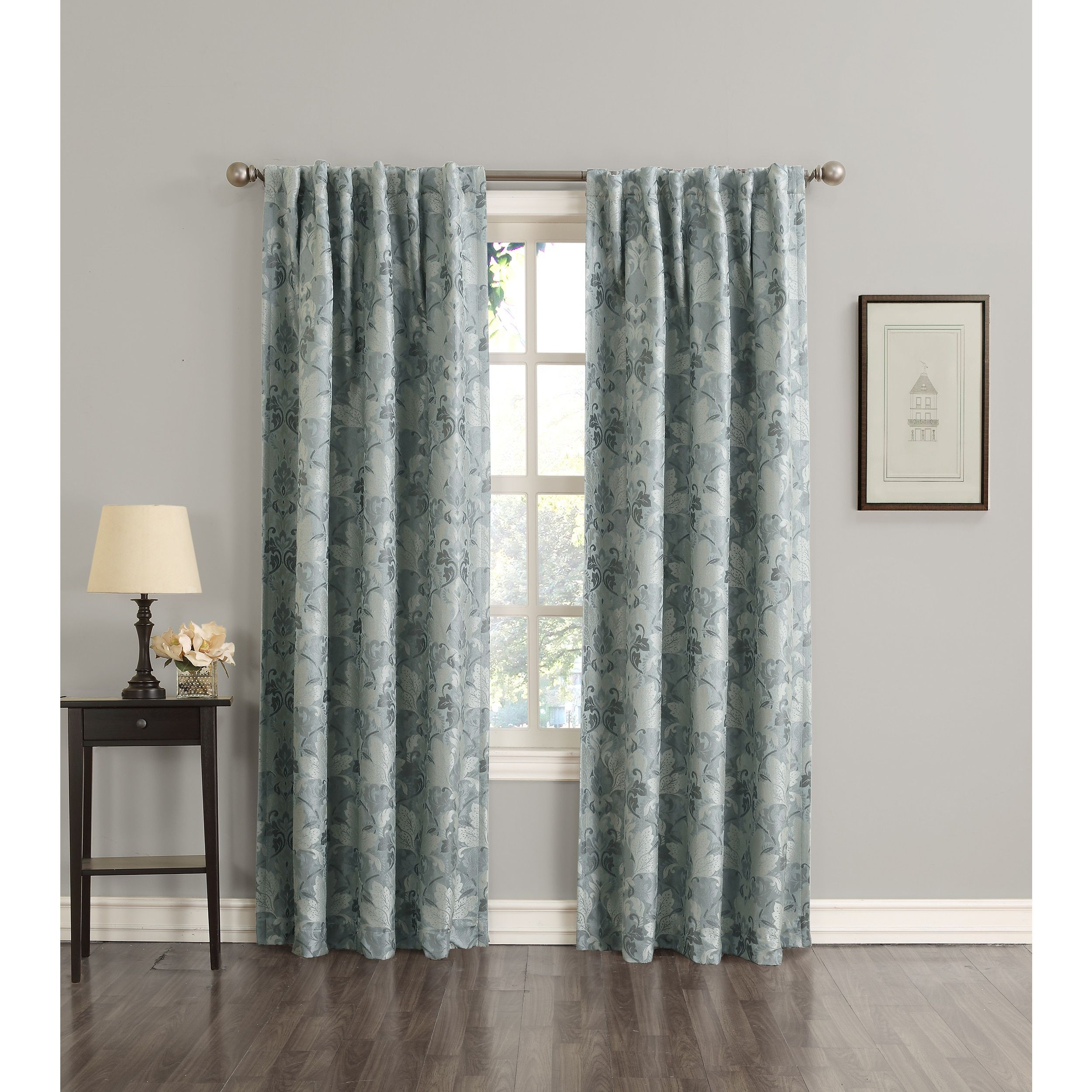 Sun Zero Mayfield Woven Floral Energy Efficient Blackout Back Tab Curtain Panel 63 Inches