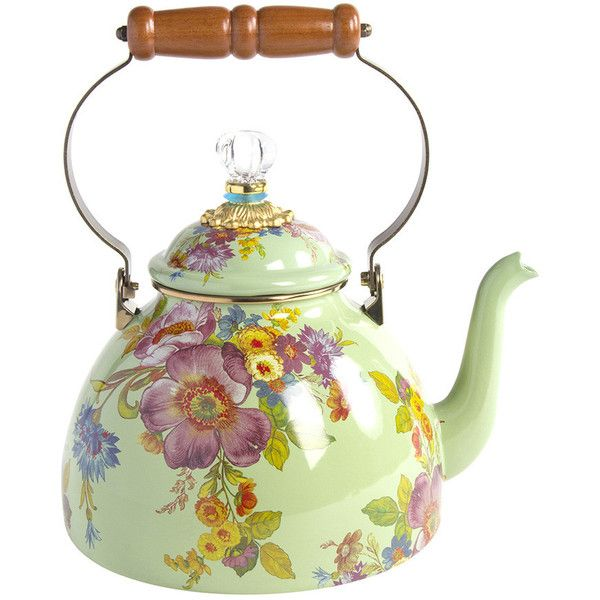 MacKenzie-Childs Flower Market Enamel Tea Kettle - Green - Large (680 ILS) ❤ liked on Polyvore featuring home, kitchen & dining, cookware, green, enamel coated cookware, mackenzie childs tea kettle, mackenzie childs kettle, green enamel cookware and green cookware