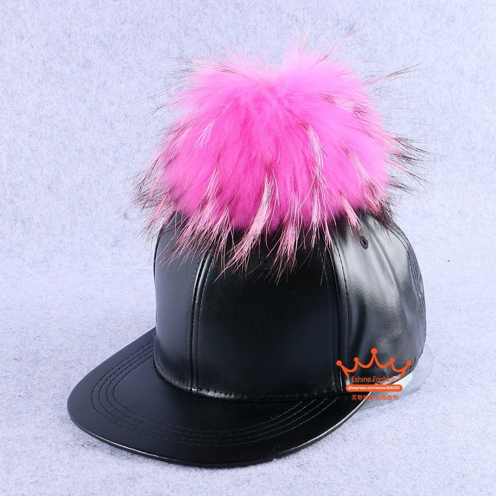 8c7904d4f women fashion brand winter snapback hat with large size pink raccoon ...