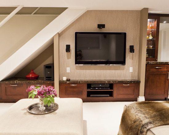 Adesivo De Anticoncepcional ~ Escada com painel de TV embaixo Decoraç u00e3o em baixo da
