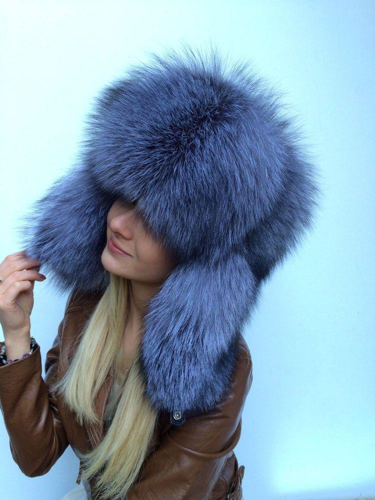 3539258db42ca Details about Saga Blue Frost Fox Fur Hat Adjustable All Fur Round ...