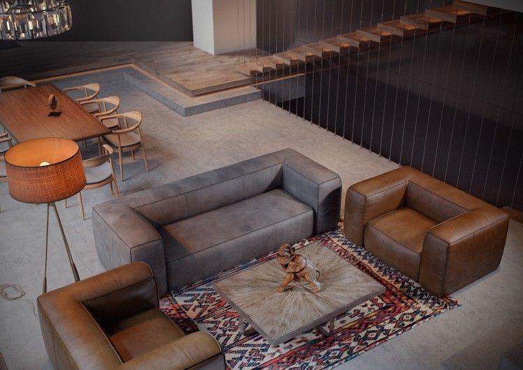 Salon Moderne Avec Canapé Gris Fauteuils En Cuir Marron Et Table