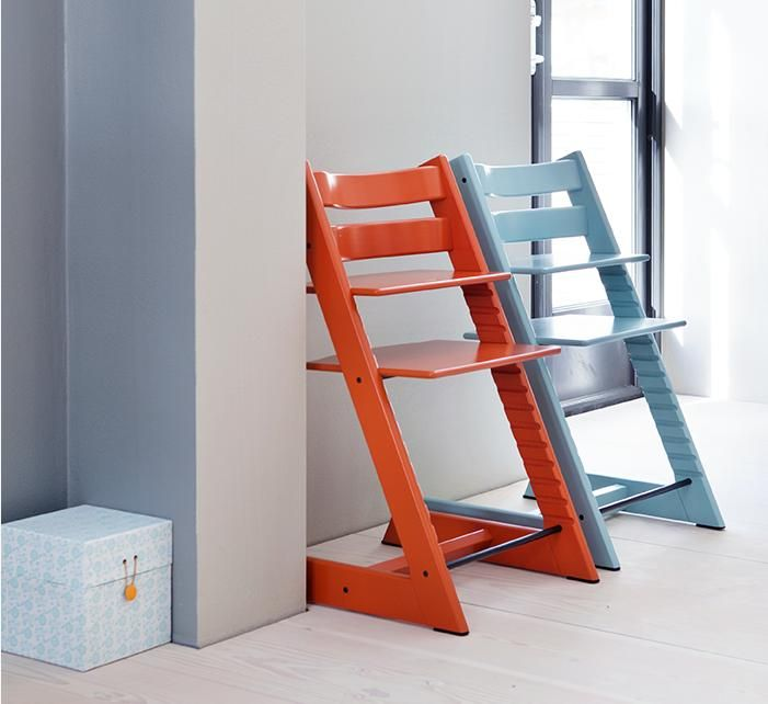Tripp Trapp aqua blue & lava orange | Tripp Trapp High Chair | Pinterest