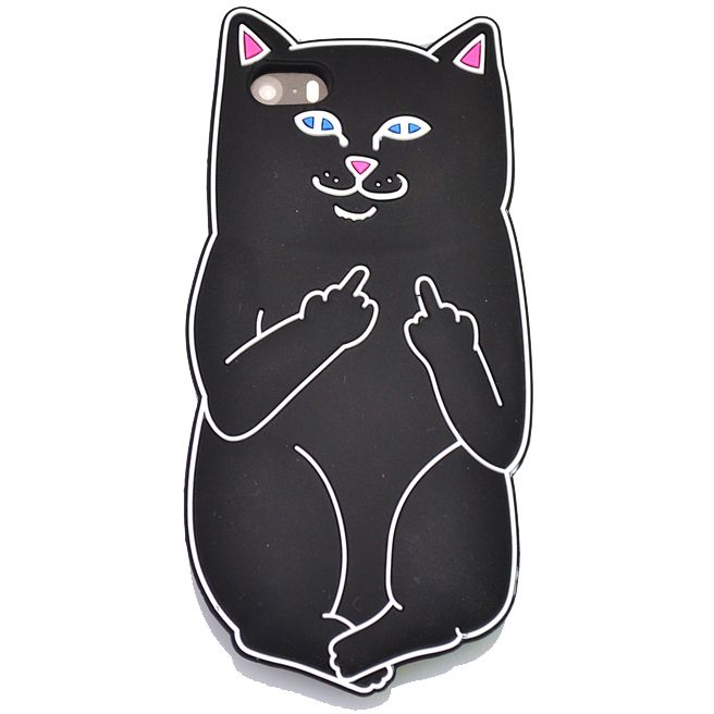"""For iPhone 5 5s / 5C / 6 6s 4.7"""" / 6 Plus 6s Plus 5.5"""" Pocket Cat Silicone Rubber Cell Phone Cases Covers (Black)"""