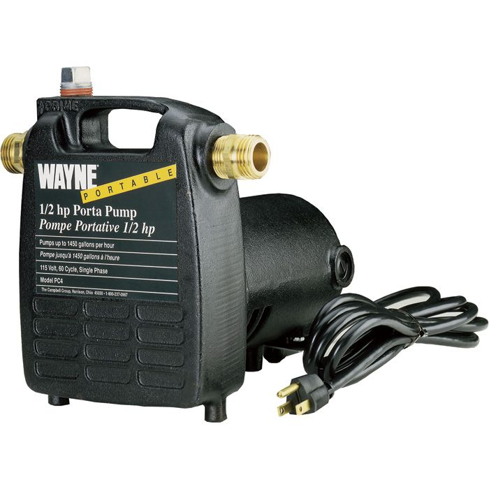 Wayne Cast Iron Portable Transfer Water Pump 1 450 Gph 1 2 Hp 3 4in Model Pc4 Water Pumps Utility Pumps Pumps