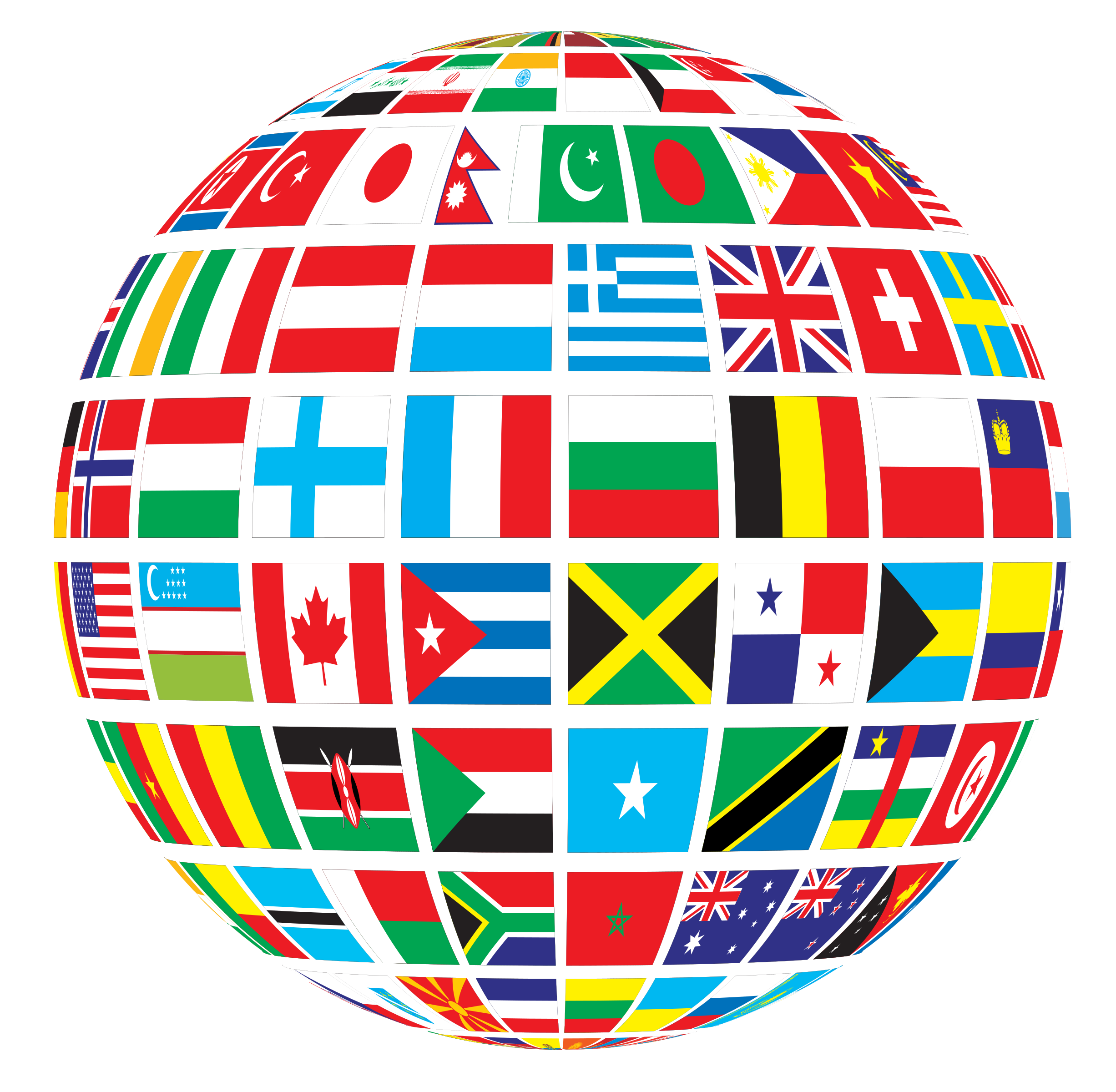 World Flags Globe by GDJ, Flags of the world mapped onto