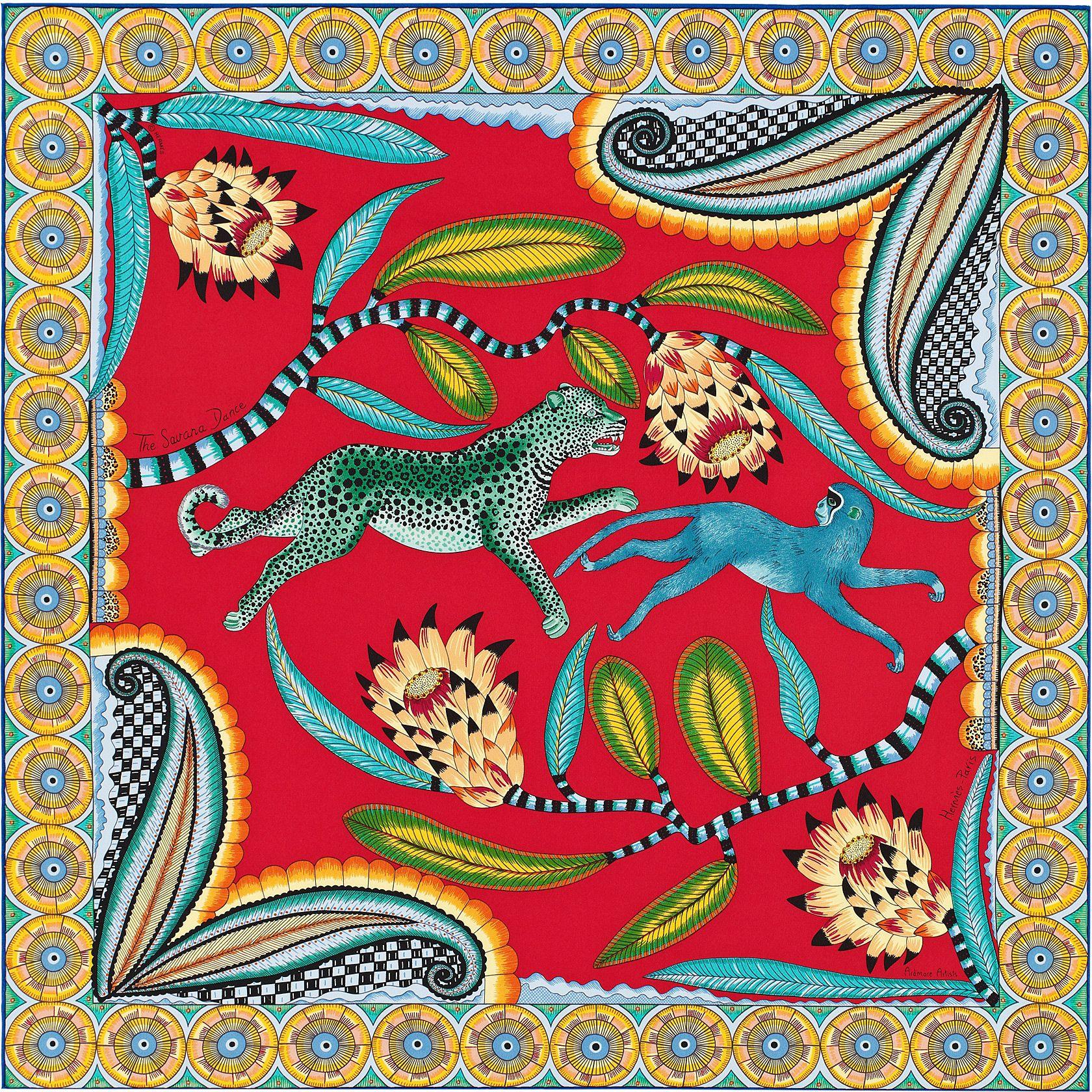 "28"" x 28"" scarf Hermès   The Savana Dance   hermes in 2019   Hermes ... 0c194f60fa9"