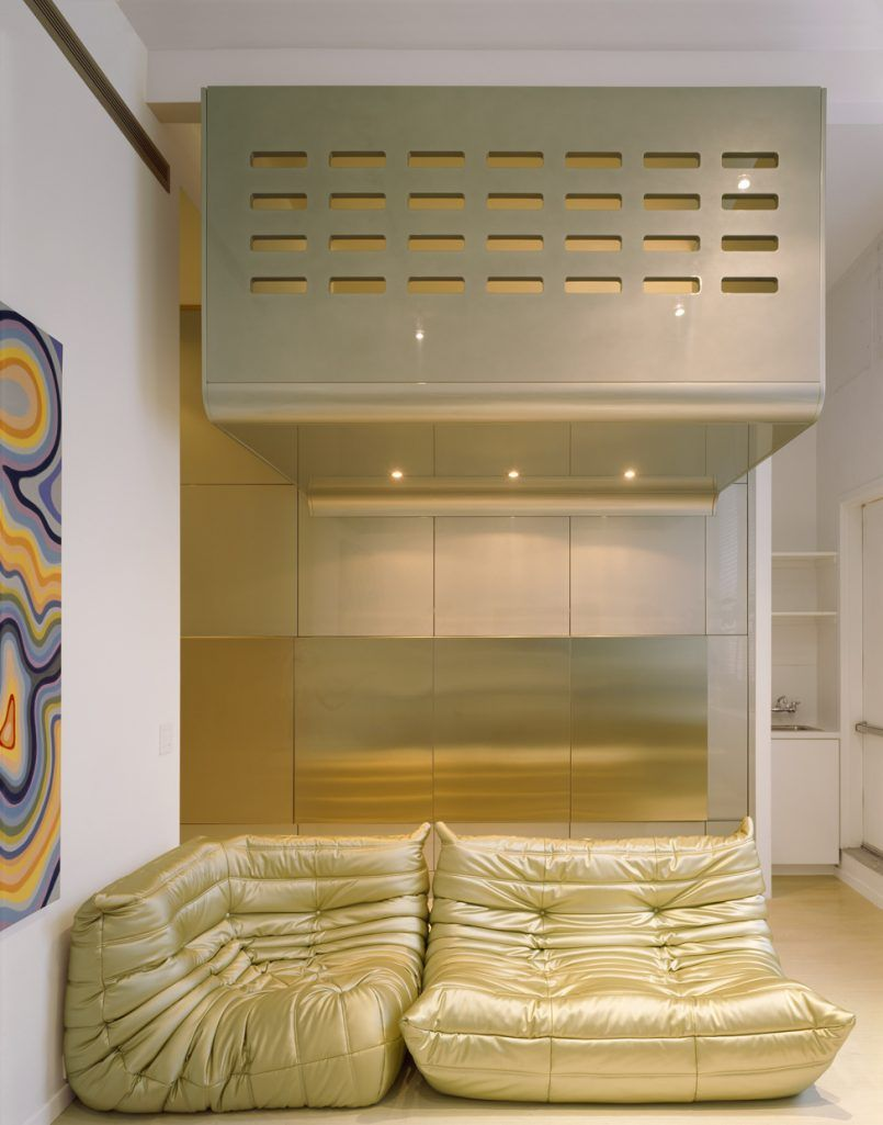 Apartement Home Interior Among Golden Togo Sofa Combined With Glass Also Stainless Steel Accents Interior Color Theme in Loft Interior for Creative Mind