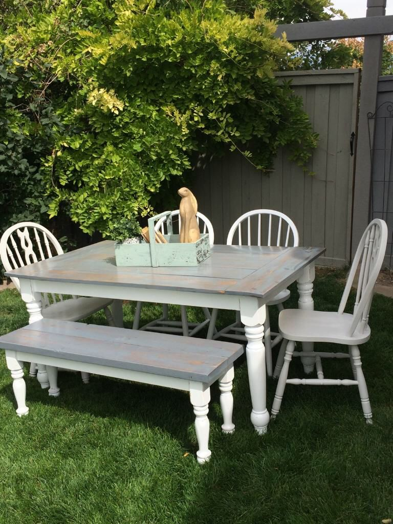 Secondhand Chic Furniture Farmhouse Table Set Chairs Bench Painted Weathered Grey Stained