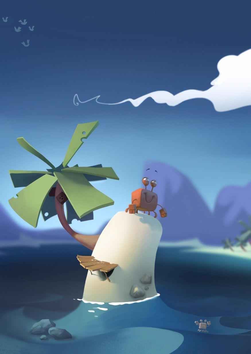 Le Krab Meeuw Picture 2d Cartoon Crab Seagull Sea