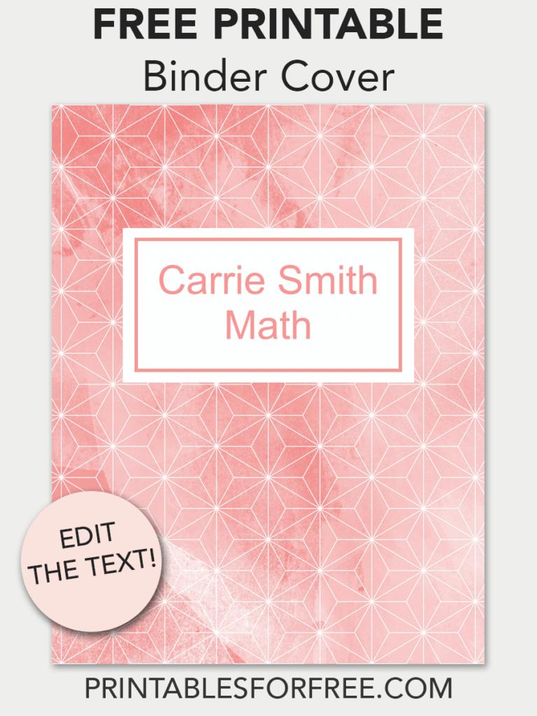 coral geometric printable binder cover free binder covers