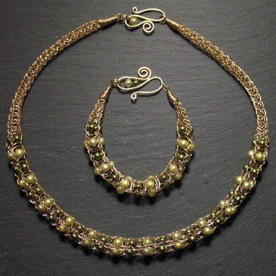 Woven Wire Jewelry and Other Creative Endeavors: Viking Knit set with green pearls