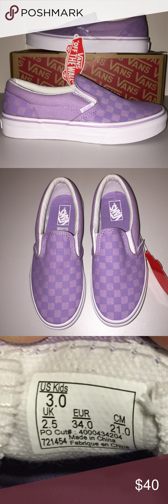 d29550e74cc NWT Vans Kids Classic Slip-On Tonal Check Lavender Pretty checkered  lavender shoes for your little fashionista. Classic slip-on design for easy  on and off.