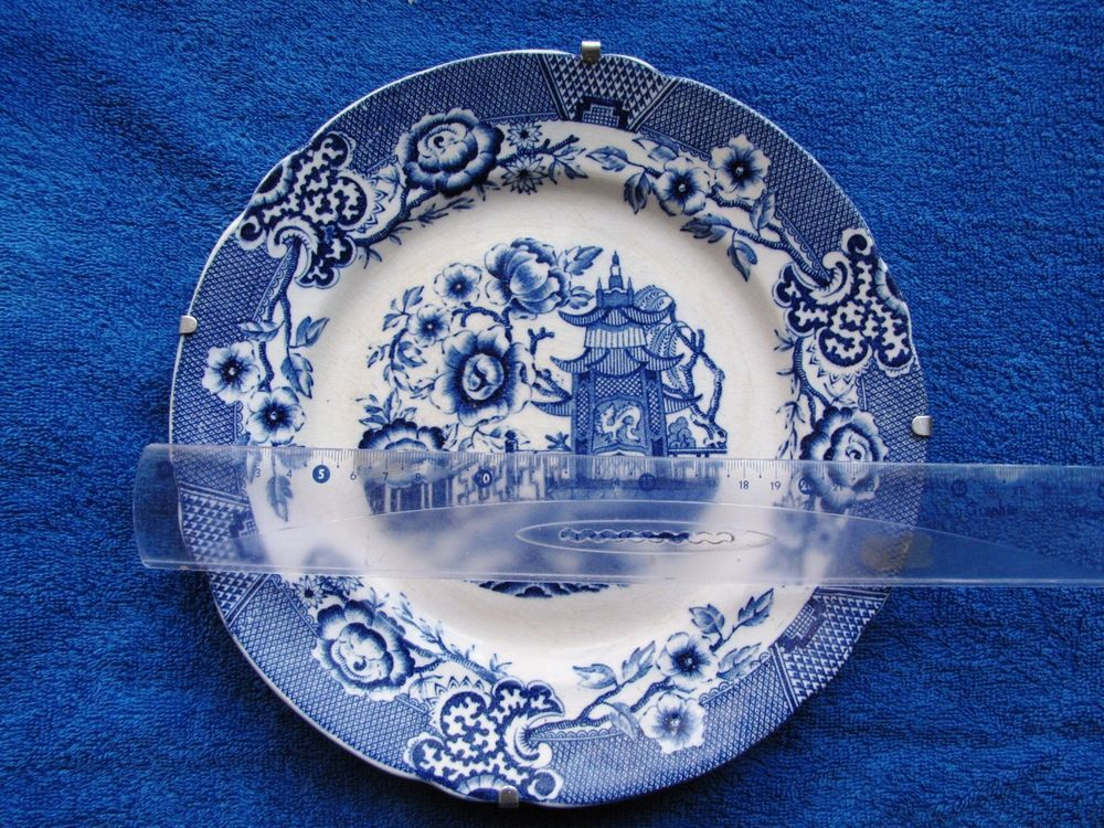 Antique Sweden Gefle Tokio Old Plate wall plaque White blue ...