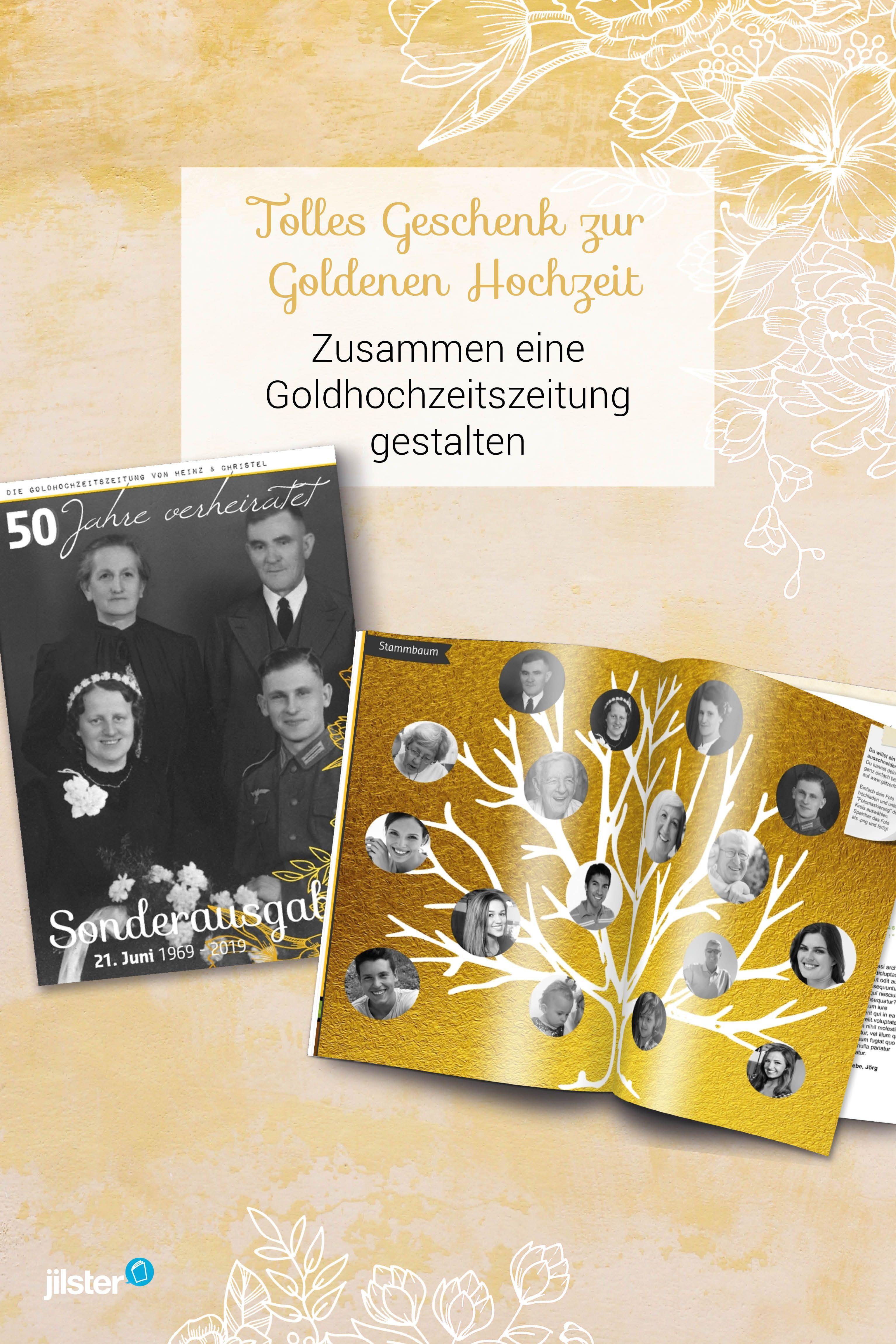 Tolles Geschenk Zur Goldenen Hochzeit Mit Jilster Eine Zeitung Gestalten Geschenke Zur Goldenen Hochzeit Goldene Hochzeit Hochzeit
