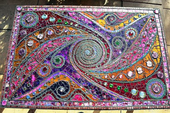 SOLD Mosaic table 'light box' spiral mosaic door NikkiEllaWhitlock