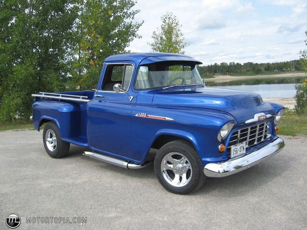 Chevy truck 1956 chevy pickup 1300 longbox viper blue id 14221 motortopia