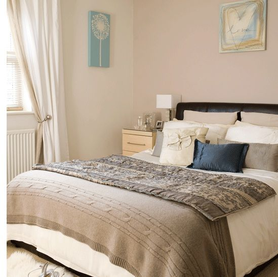 Neutral bedroom with blue accentRedecorate BedroomPinterest