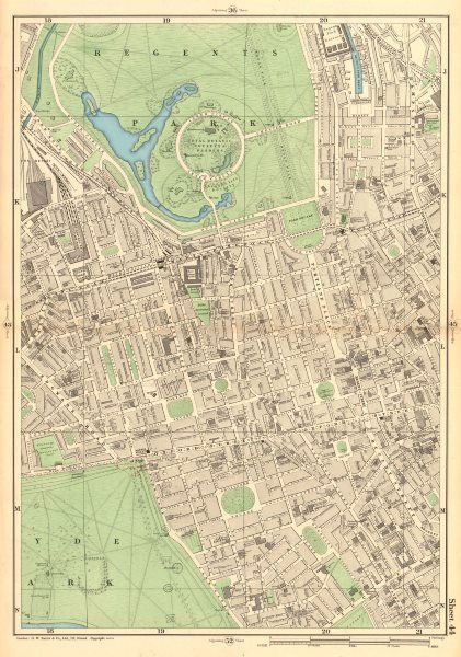 Map Of Central London To Print.London Maps Sheet 44 From Bacon S 1903 London Street Atlas Covering