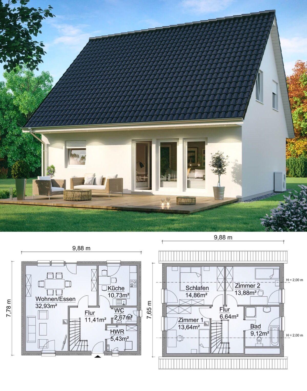 satteldach haus mit 4 zimmer grundriss rechteckig ohne. Black Bedroom Furniture Sets. Home Design Ideas