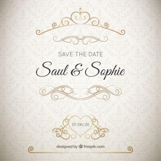 Pin by soprun design studio on pinterest elegant wedding invitation with golden ornaments stopboris Image collections